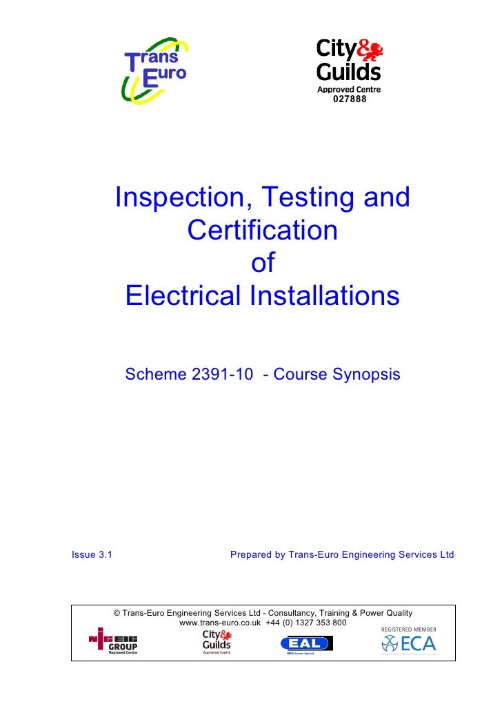 027888            Inspection, Testing and                  Certification                        of             Electrical ...