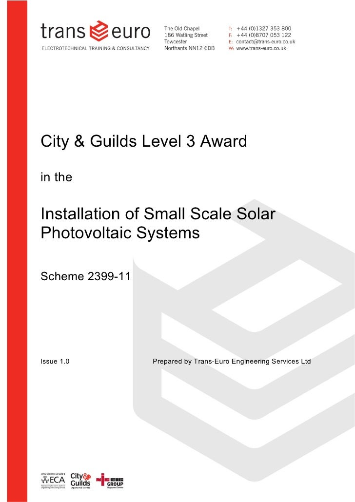City & Guilds 2393-10                                           SynopsisCity & Guilds Level 3 Awardin theInstallation of S...