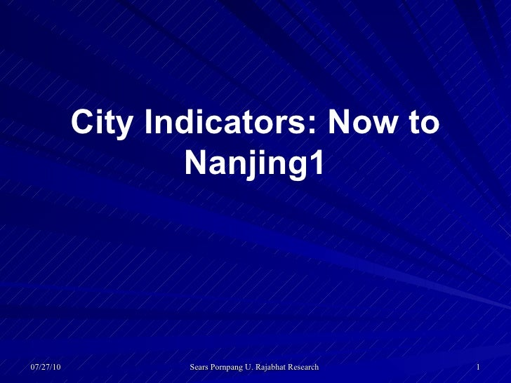 City Indicators: Now to Nanjing1
