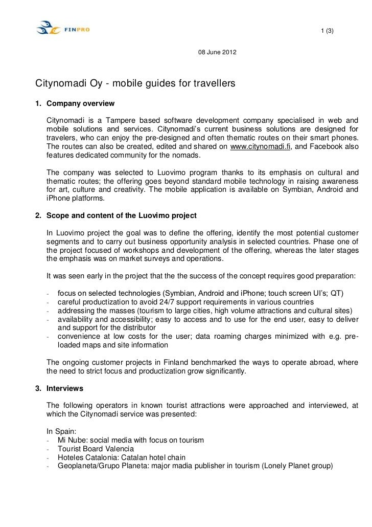 1 (3)                                                 08 June 2012Citynomadi Oy - mobile guides for travellers1. Company o...