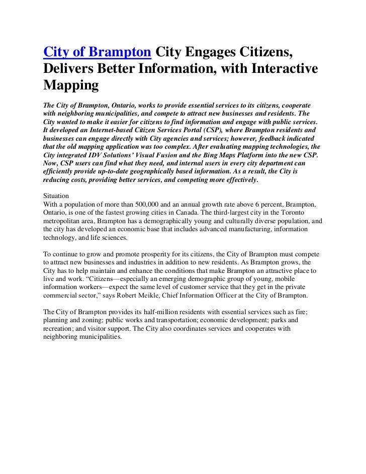"""HYPERLINK """"http://www.brampton.ca"""" t """"_blank"""" City of Brampton City Engages Citizens, Delivers Better Information, with I..."""