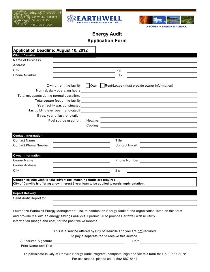 Energy Audit                                                   Application FormApplication Deadline: August 10, 2012City o...