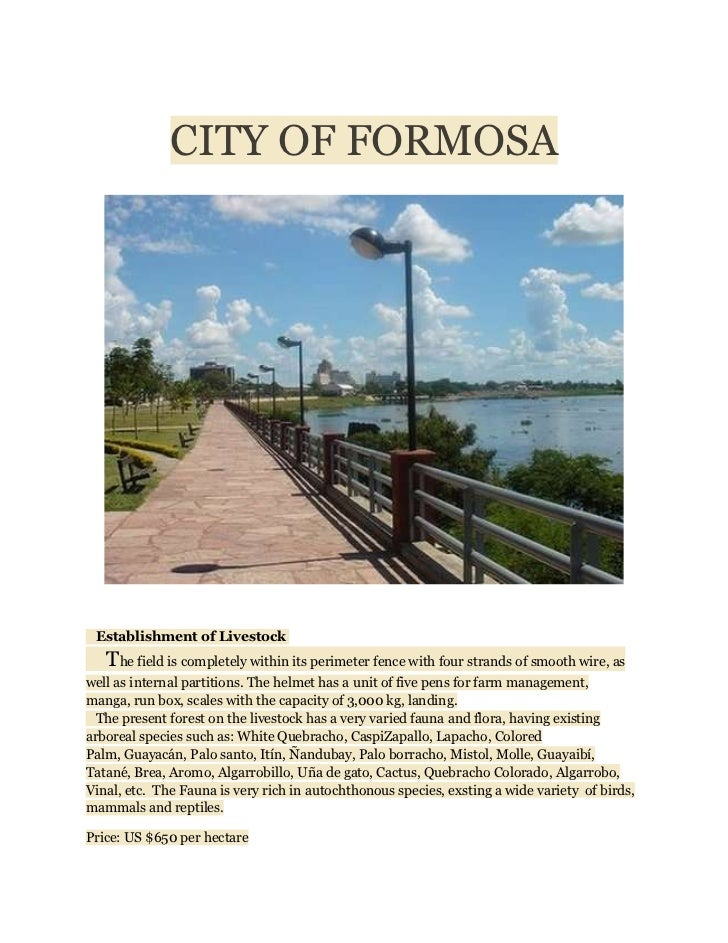 CITY OF FORMOSA Establishment of Livestock   The field is completely within its perimeter fence with four strands of smoot...