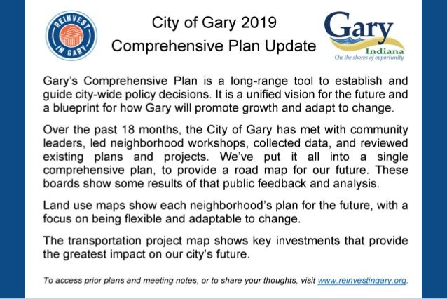 Gary Comprehensive Plan Land Use Type Description RESIDENTIAL Residential Stable residential neighborhood containing a mix...