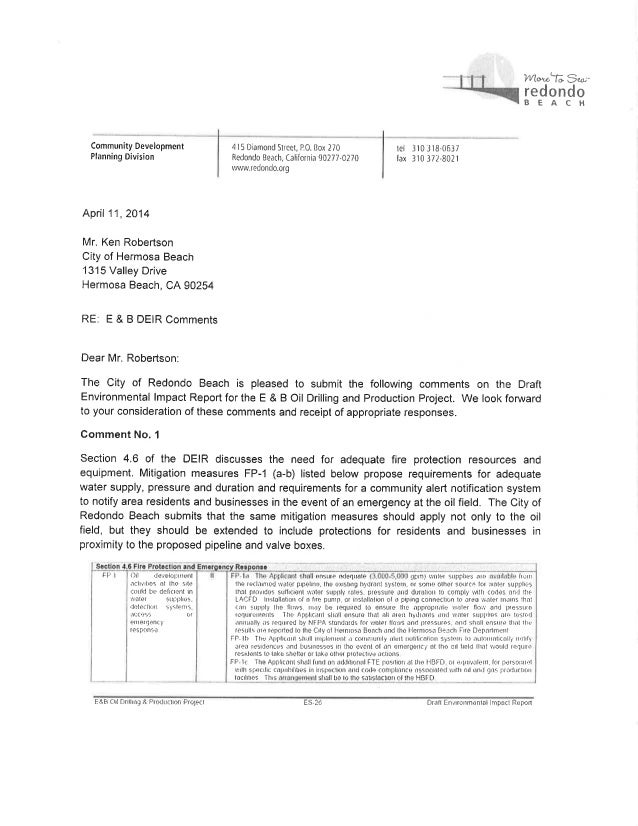 City of Redondo Beach - Draft Environmental Impact Report Comments - Hermosa Beach Oil Drilling Project