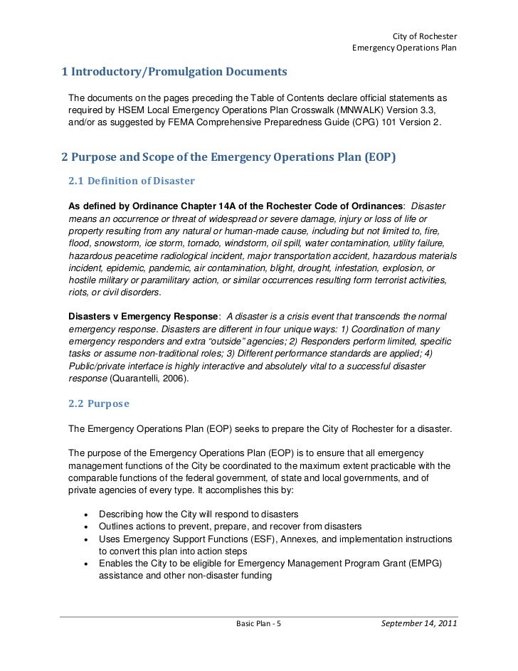 emergency operations plan essay Free essay: emergency preparedness and response protecting the public's   disaster planning and emergency response disasters, both.