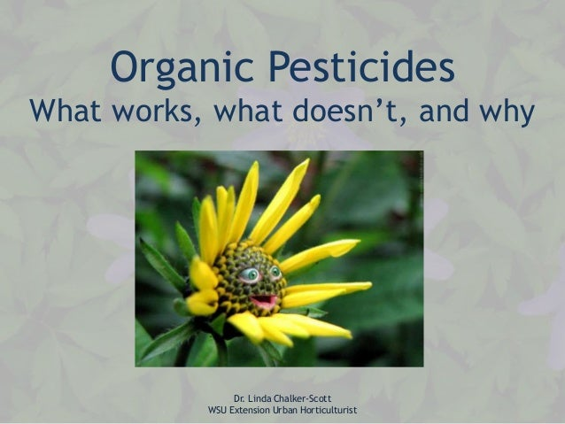 Organic Pesticides What works, what doesn't, and why  Dr. Linda Chalker-Scott WSU Extension Urban Horticulturist