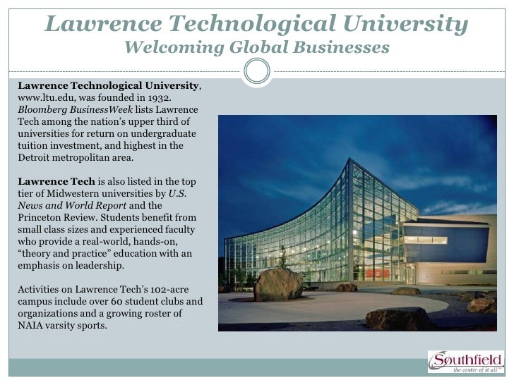 Lawrence Technological University                        Welcoming Global BusinessesLawrence Technological University,www....