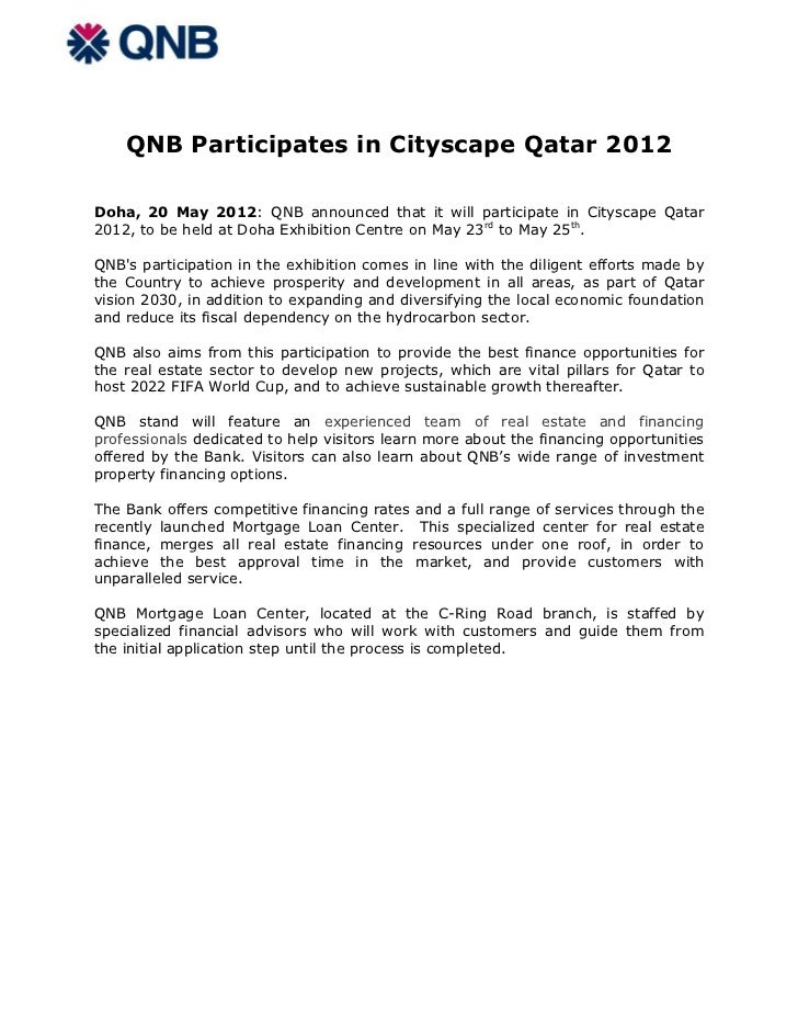 QNB Participates in Cityscape Qatar 2012Doha, 20 May 2012: QNB announced that it will participate in Cityscape Qatar2012, ...