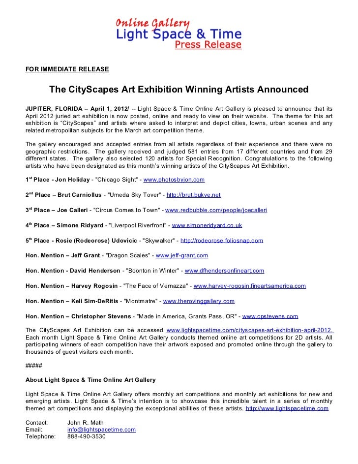 FOR IMMEDIATE RELEASE        The CityScapes Art Exhibition Winning Artists AnnouncedJUPITER, FLORIDA – April 1, 2012/ -- L...