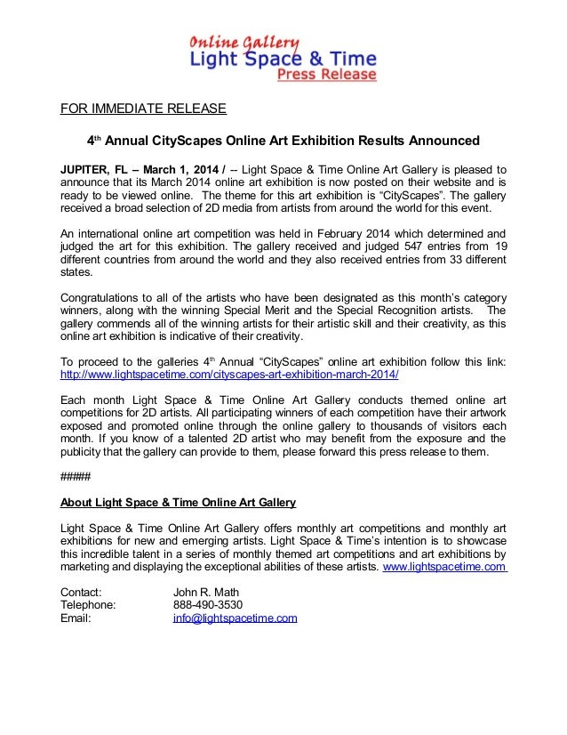 FOR IMMEDIATE RELEASE 4th Annual CityScapes Online Art Exhibition Results Announced JUPITER, FL – March 1, 2014 / -- Light...