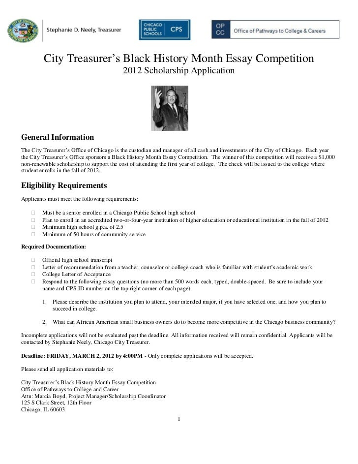 City Treasurer's Black History Month Essay Competition Application 20…