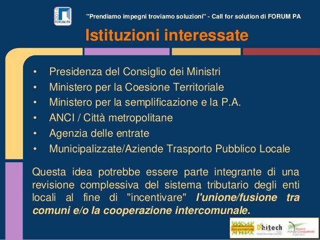 """""""Prendiamo impegni troviamo soluzioni"""" - Call for solution di FORUM PA • Presidenza del Consiglio dei Ministri • Ministero..."""