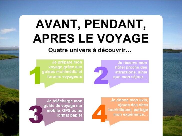 AVANT, PENDANT, APRES LE VOYAGE  Quatre univers à découvrir…