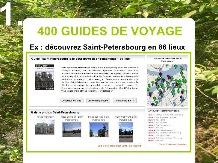 1.     400 GUIDES DE VOYAGE      Ex : découvrez Saint-Petersbourg en 86 lieux