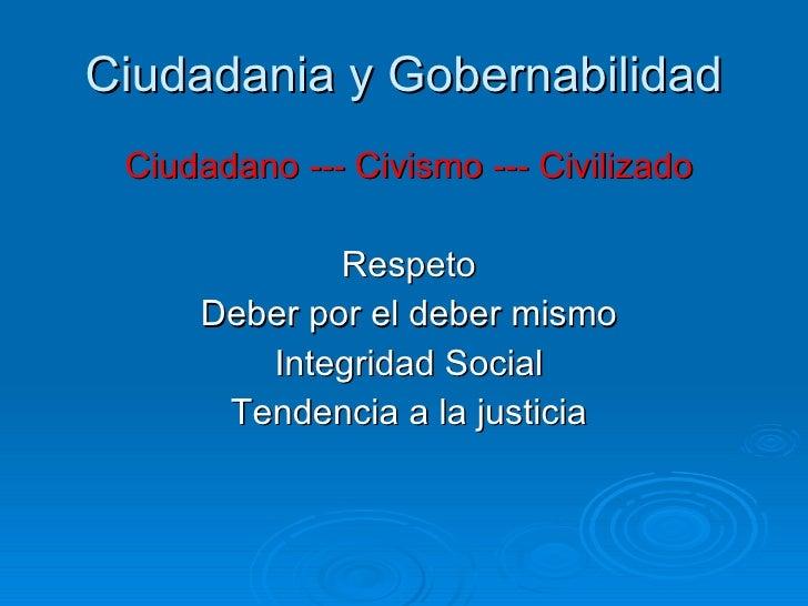 Ciudadania y Gobernabilidad <ul><li>Ciudadano --- Civismo --- Civilizado </li></ul><ul><li>Respeto </li></ul><ul><li>Deber...