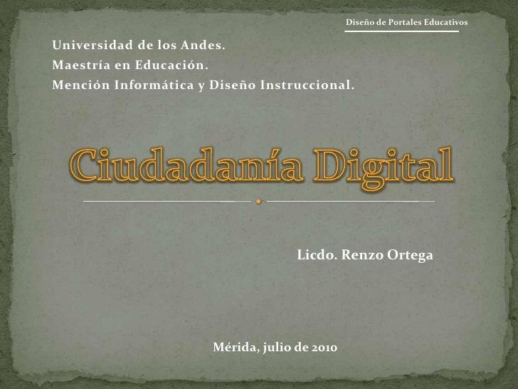 Universidad de los Andes.<br />Maestría en Educación.<br />Mención Informática y Diseño Instruccional.<br />Diseño de Port...