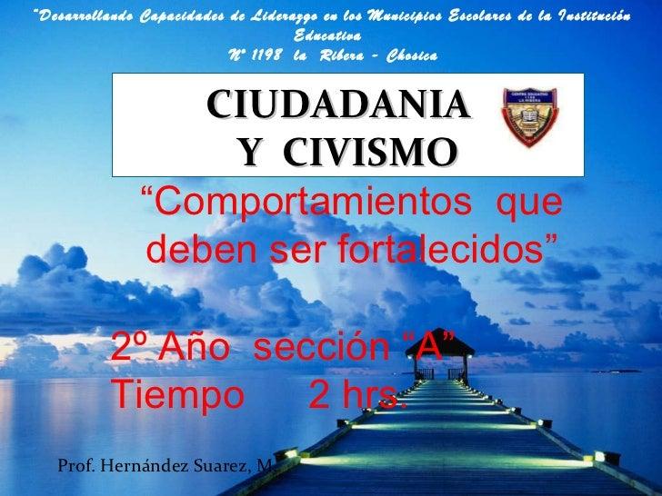 """CIUDADANIA  Y  CIVISMO """" Comportamientos  que deben ser fortalecidos"""" 2º Año  sección """"A"""" Tiempo  2 hrs. Prof. Hernández S..."""