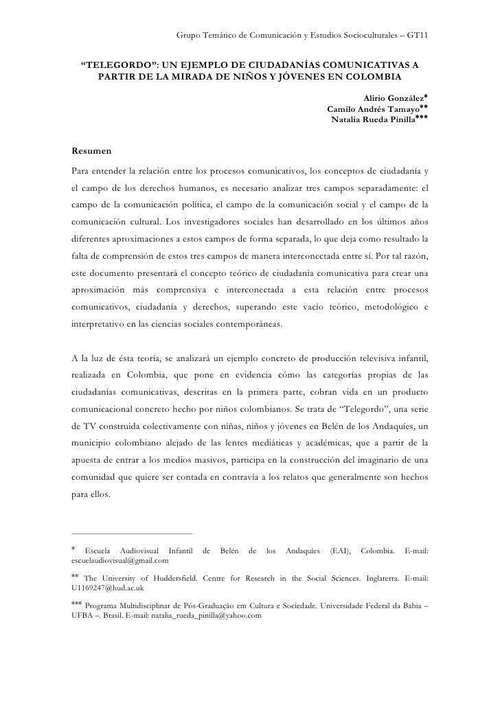 """Grupo Temático de Comunicación y Estudios Socioculturales – GT11     """"TELEGORDO"""": UN EJEMPLO DE CIUDADANÍAS COMUNICATIVAS ..."""