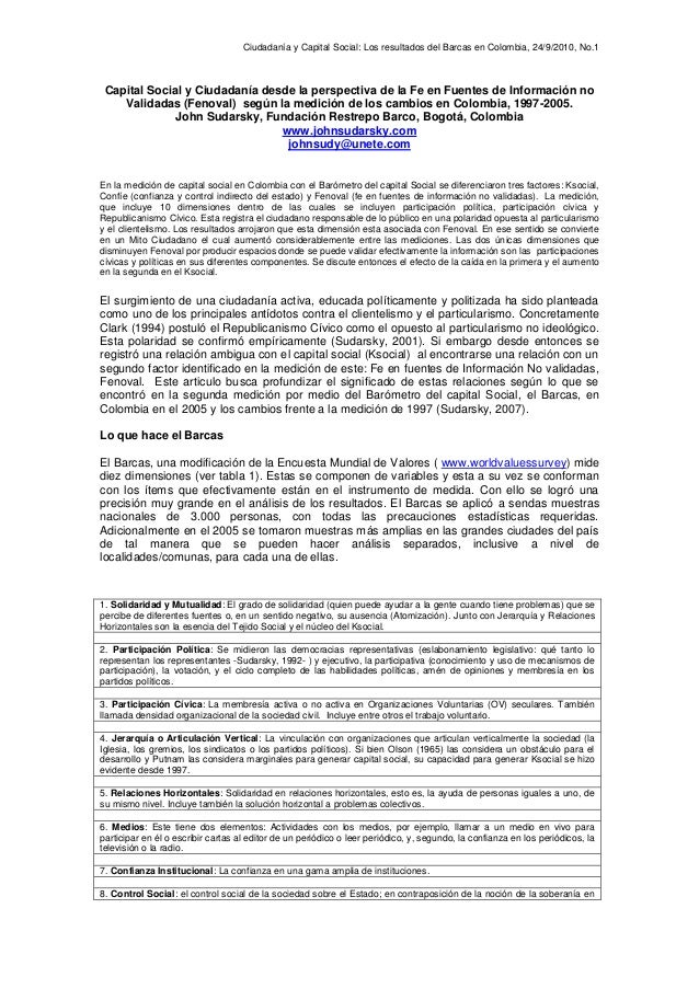 Ciudadanía y Capital Social: Los resultados del Barcas en Colombia, 24/9/2010, No.1 Capital Social y Ciudadanía desde la p...