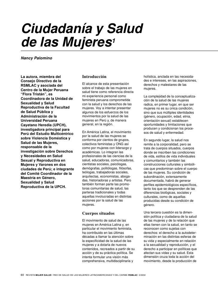 Ciudadanía y Salud de las Mujeres1 Nancy Palomino    La autora, miembra del                          Introducción         ...