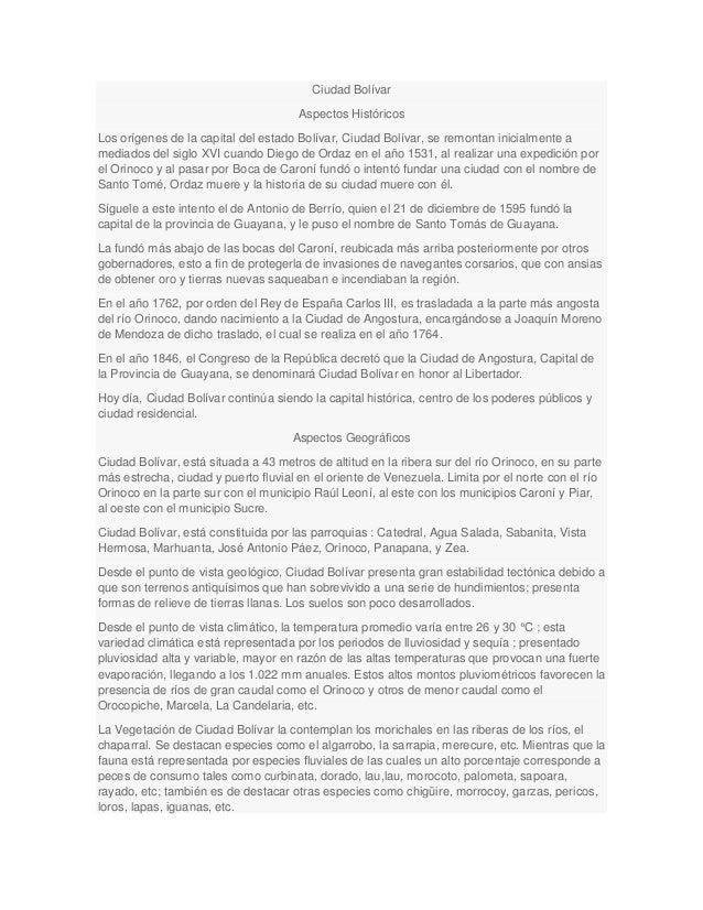 Ciudad BolívarAspectos HistóricosLos orígenes de la capital del estado Bolívar, Ciudad Bolívar, se remontan inicialmente a...