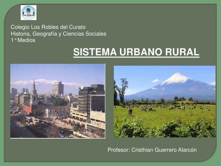 Colegio Los Robles del Curato Historia, Geografía y Ciencias Sociales 1° Medios                           SISTEMA URBANO R...