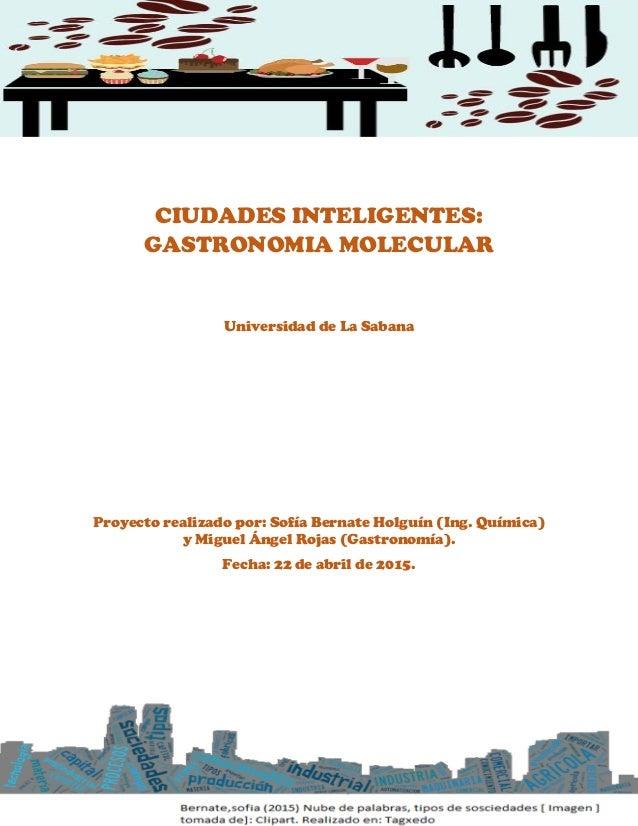 CIUDADES INTELIGENTES: GASTRONOMIA MOLECULAR Universidad de La Sabana Proyecto realizado por: Sofía Bernate Holguín (Ing. ...