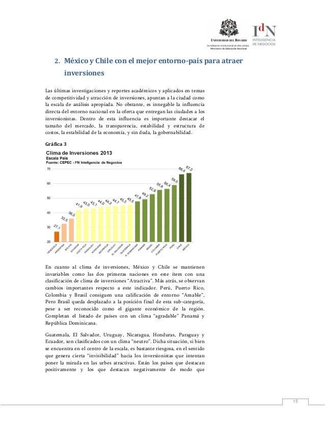 152. México y Chile con el mejor entorno-país para atraerinversionesLas últimas investigaciones y reportes académicos y ap...