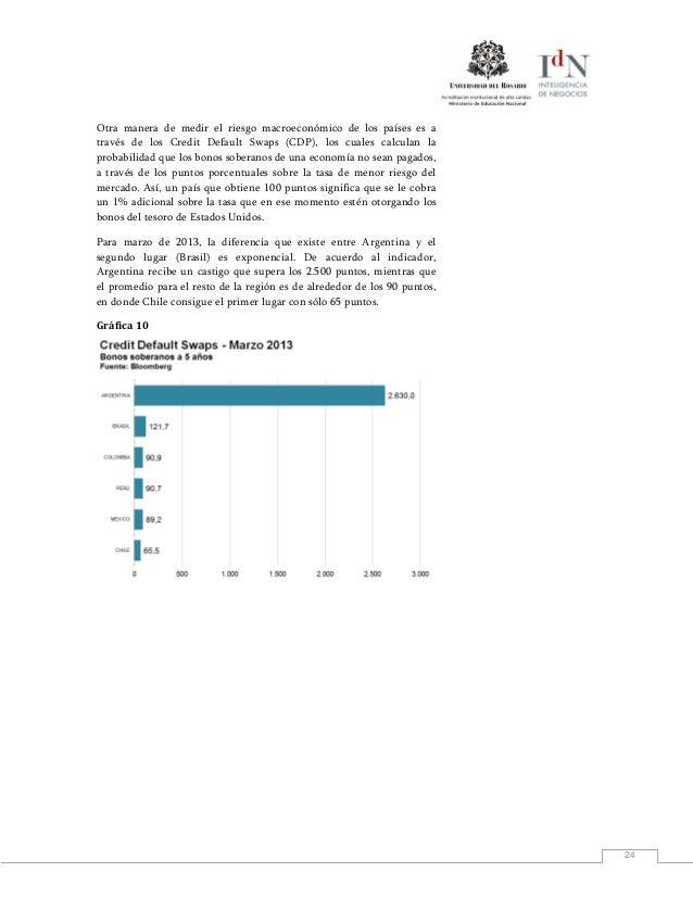 24Otra manera de medir el riesgo macroeconómico de los países es através de los Credit Default Swaps (CDP), los cuales cal...
