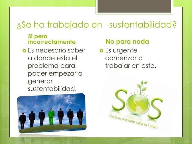 ¿Se ha trabajado en sustentabilidad?   Si pero   incorrectamente       No para nada  Esnecesario saber    Es urgente  a ...
