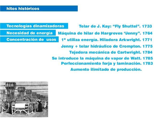 """Máquina de hilar de Hargreves """"Jenny"""". 1764 hitos históricos Telar de J. Kay: """"Fly Shuttel"""". 1733Tecnologías dinamizadoras..."""