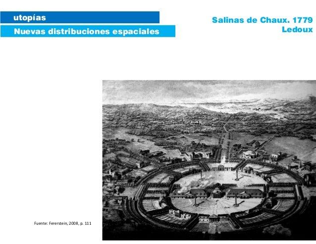 utopías Nuevas distribuciones espaciales Salinas de Chaux. 1779 Ledoux Fuente: Fererstein, 2008, p. 111