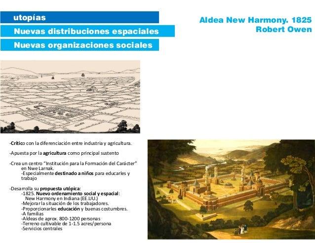 utopías Nuevas distribuciones espaciales Nuevas organizaciones sociales Aldea New Harmony. 1825 Robert Owen -Crítico con l...