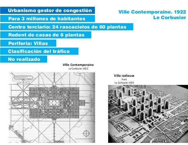 Urbanismo gestor de congestión Para 3 millones de habitantes Redent de casas de 6 plantas Periferia: Villas Centro terciar...