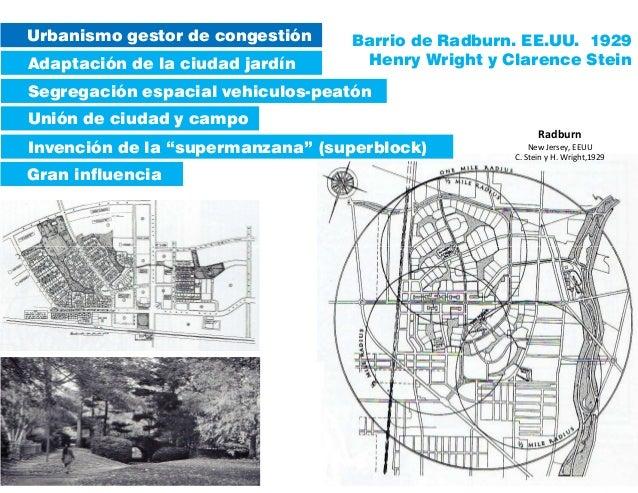 Radburn New Jersey, EEUU C. Stein y H. Wright,1929 Urbanismo gestor de congestión Adaptación de la ciudad jardín Unión de ...