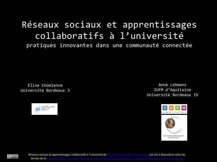 Réseaux sociaux et apprentissages  collaboratifs à l'université  pratiques innovantes dans une communauté connectée   Élis...