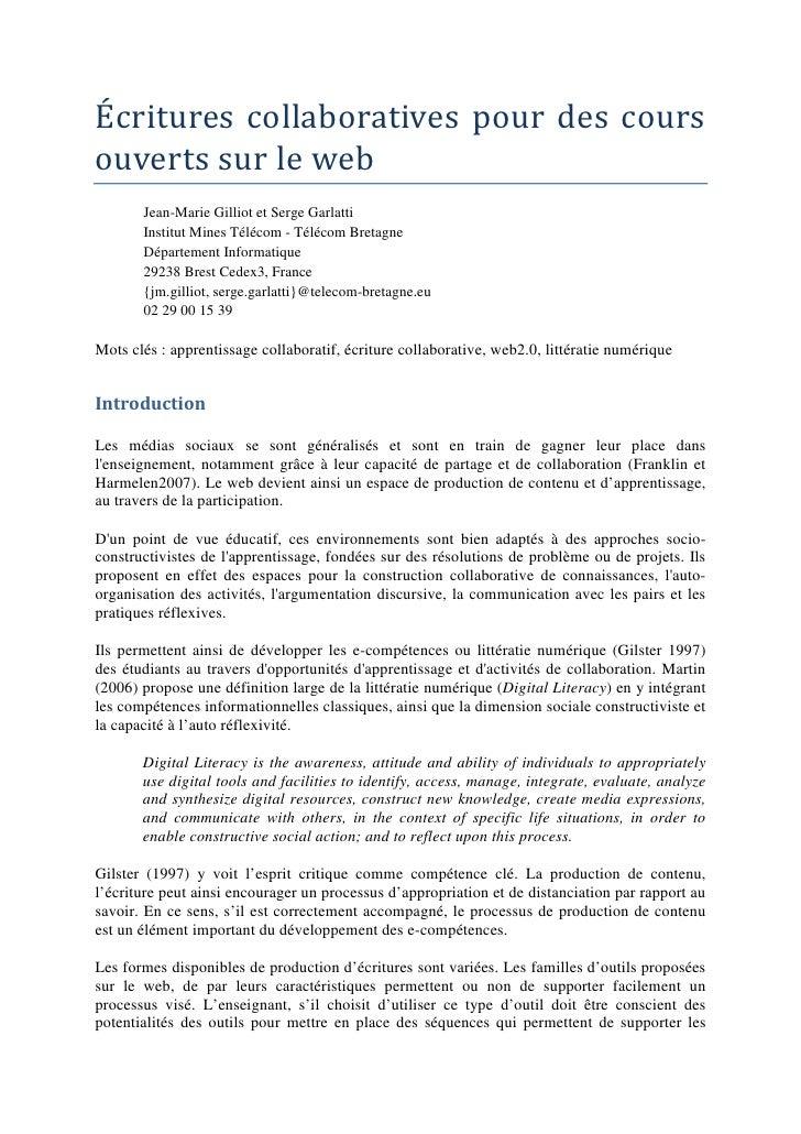 Écritures collaboratives pour des coursouverts sur le web       Jean-Marie Gilliot et Serge Garlatti       Institut Mines ...