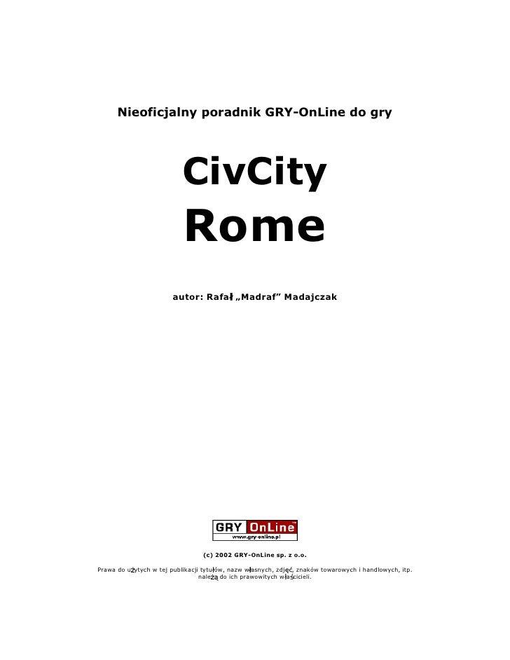 Nieoficjalny poradnik GRY-OnLine do gry                               CivCity                            Rome             ...