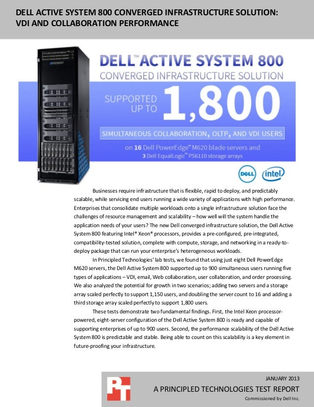 DELL ACTIVE SYSTEM 800 CONVERGED INFRASTRUCTURE SOLUTION:VDI AND COLLABORATION PERFORMANCE                    Businesses r...