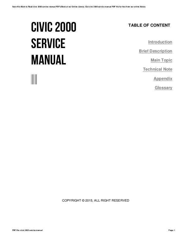 civic 2000 service manual rh slideshare net 2000 honda civic service manual download honda civic 96-2000 service manual