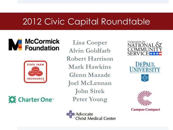 2012 Civic Capital Roundtable           Lisa Cooper          Alvin Goldfarb         Robert Harrison         Mark Hawkins  ...