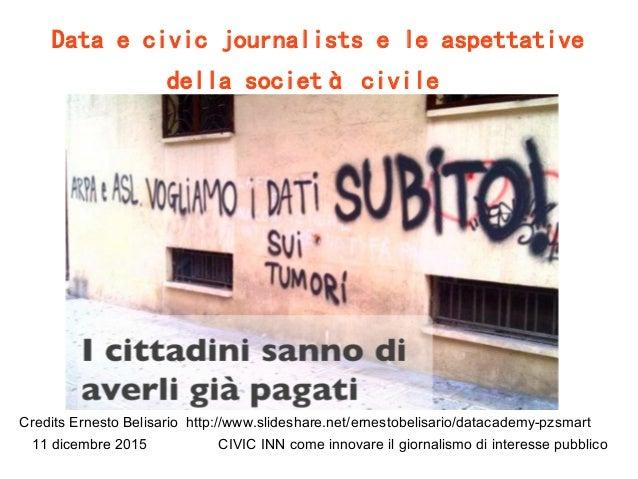 11 dicembre 2015 CIVIC INN come innovare il giornalismo di interesse pubblico Data e civic journalists e le aspettative de...