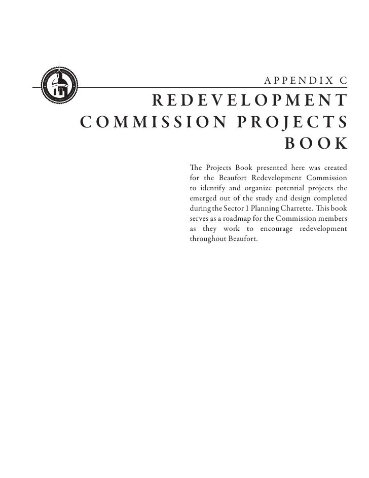 APPENDIX C    REDEVELOPMENTCOMMISSION PROJECTS              BOOK       The Projects Book presented here was created       ...