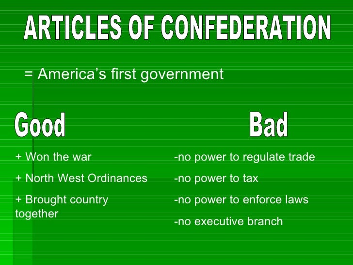 the equally that the articles of confederation brought in america