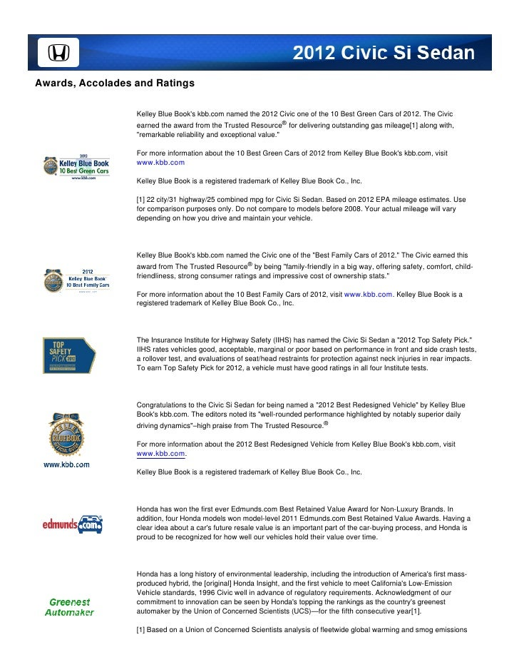 Awards, Accolades and Ratings                  Kelley Blue Books kbb.com named the 2012 Civic one of the 10 Best Green Car...