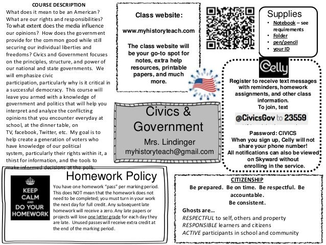 Civics & Government Mrs. Lindinger myhistoryteach@gmail.com Class website: www.myhistoryteach.com Register to receive text...