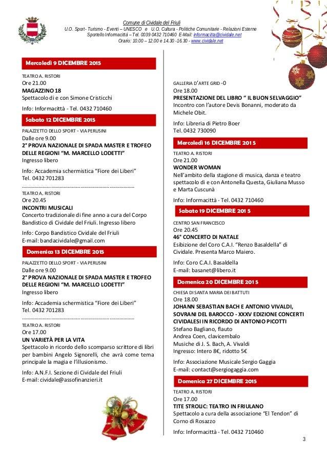 Agenda Eventi Cividale del Friuli - Dicembre 2015