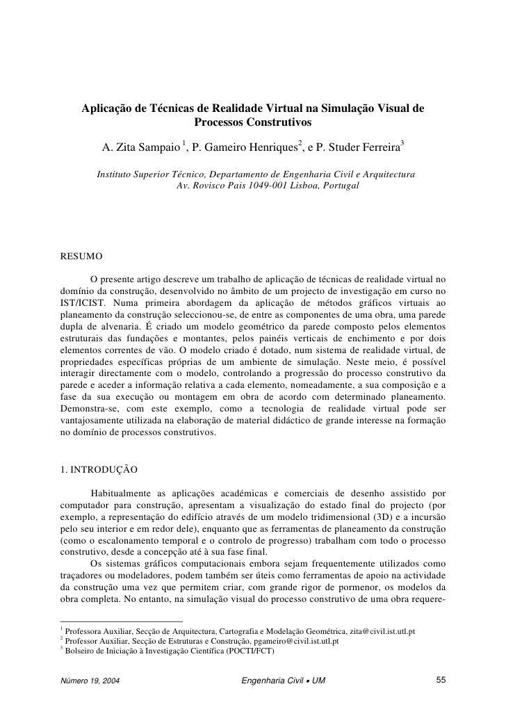 Aplicação de Técnicas de Realidade Virtual na Simulação Visual de                           Processos Construtivos        ...