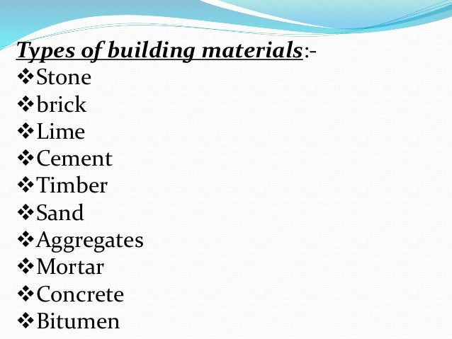 classification of building materials pdf